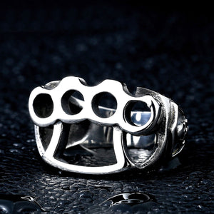 GUNGNEER Stainless Steel Gang Fist Hip Hop Biker Skull Ring Bike Chain Bracelet Jewelry Set