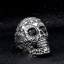 Load image into Gallery viewer, GUNGNEER Punk Gothic Stainless Steel Sugar Skull Necklace Ring Halloween Jewelry Set Men Women