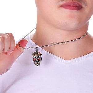 GUNGNEER Punk Gothic Stainless Steel Sugar Skull Necklace Ring Halloween Jewelry Set Men Women
