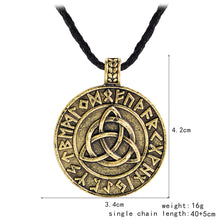 Load image into Gallery viewer, GUNGNEER Celtic Triquetra Viking Runes Pendant Necklace with Beaded Bracelet Jewelry Set