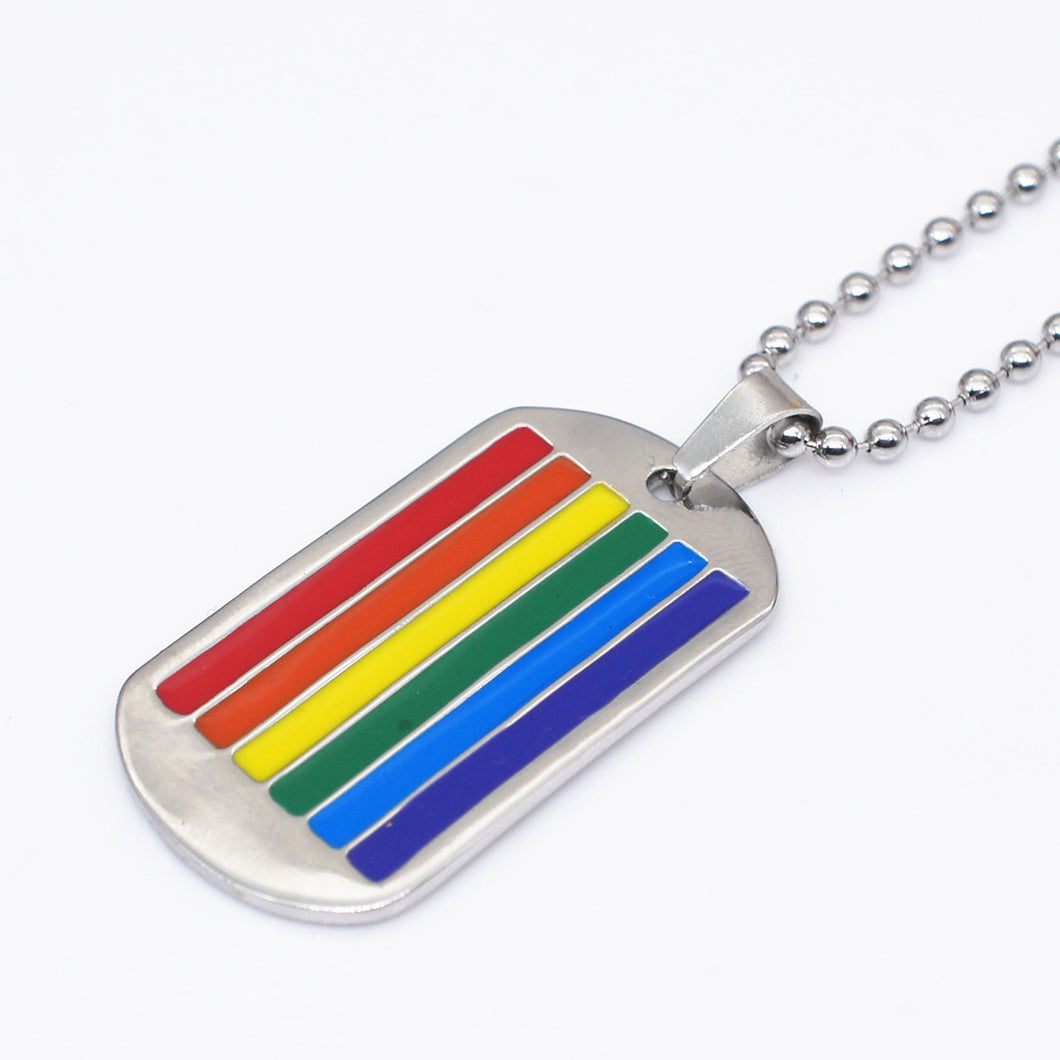 GUNGNEER Pride Dog Tag Necklace Stainless Steel LGBT Lesbian Gay Jewelry For Men Women