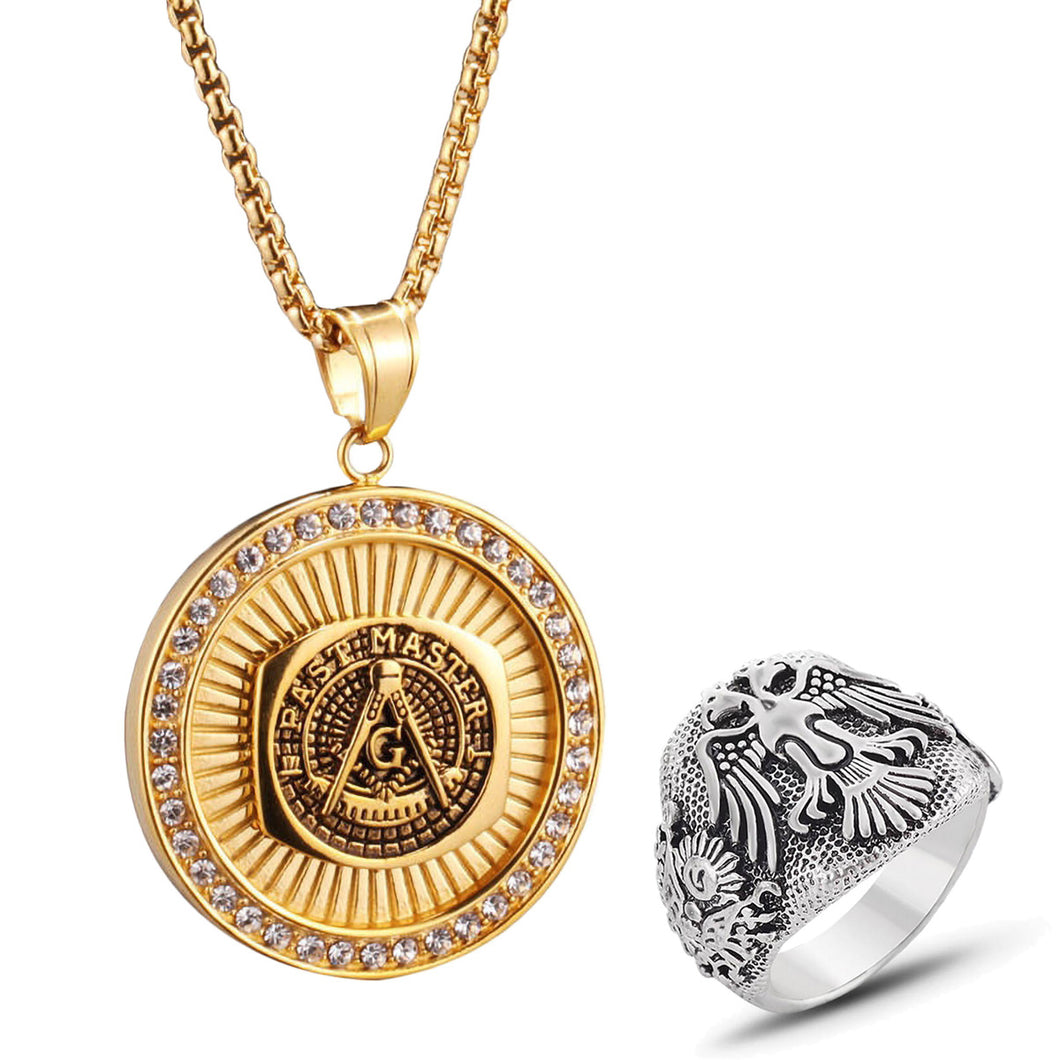 GUNGNEER Masonic Pendant Necklace Double-headed Eagle Ring Jewelry Set Gift Accessory