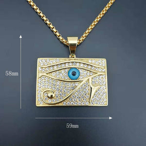 GUNGNEER Pyramid Egyptian Eye of Horus Necklace Link Chain Bracelet Stainless Steel Jewelry Set