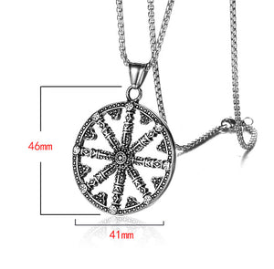 GUNGNEER 2 Pcs Stainless Steel Viking Sun Wheel Necklace with Beaded Bracelet Jewelry Set