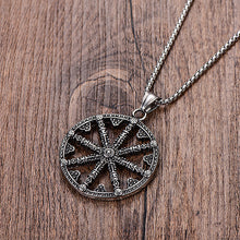 Load image into Gallery viewer, GUNGNEER 2 Pcs Stainless Steel Viking Sun Wheel Necklace with Beaded Bracelet Jewelry Set