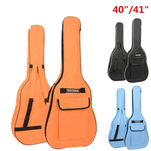 2TRIDENTS 40/41 Inch Acoustic Guitar Bag Double Straps Backpack for Performance Travel Training (Black)