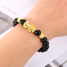 Load image into Gallery viewer, HoliStone Lucky Charm Bracelet with Mantra OM MANI Padme HUM & FengShui PiXiu Amulet ? Anxiety Stress Relief Yoga Meditation Energy Balancing Lucky Charm Bracelet for Women and Men