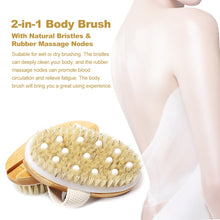 Load image into Gallery viewer, 2TRIDENTS Body Brush for Wet or Dry Brushing - Best for Exfoliating Dry Skin, Lymphatic Drainage and Cellulite Treatment