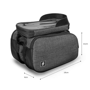 2TRIDENTS Black Double Bike Pannier Bag Minimalist Style Bicycle Bag Excellent Accessory for Outdoor Activities