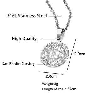 GUNGNEER Saint Benedict Medal Seal Medieval Pendant Necklace with Ring Jewelry Set