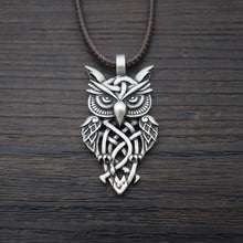 Load image into Gallery viewer, GUNGNEER Vintage Celtic Trinity Knot Owl Stainless Steel Amulet Pendant Necklace Jewelry