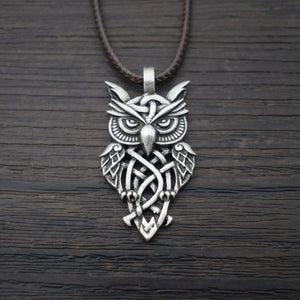 GUNGNEER Celtic Trinity Knot Owl Amulet Pendant Necklace Cross Wings Key Chain Jewelry Set