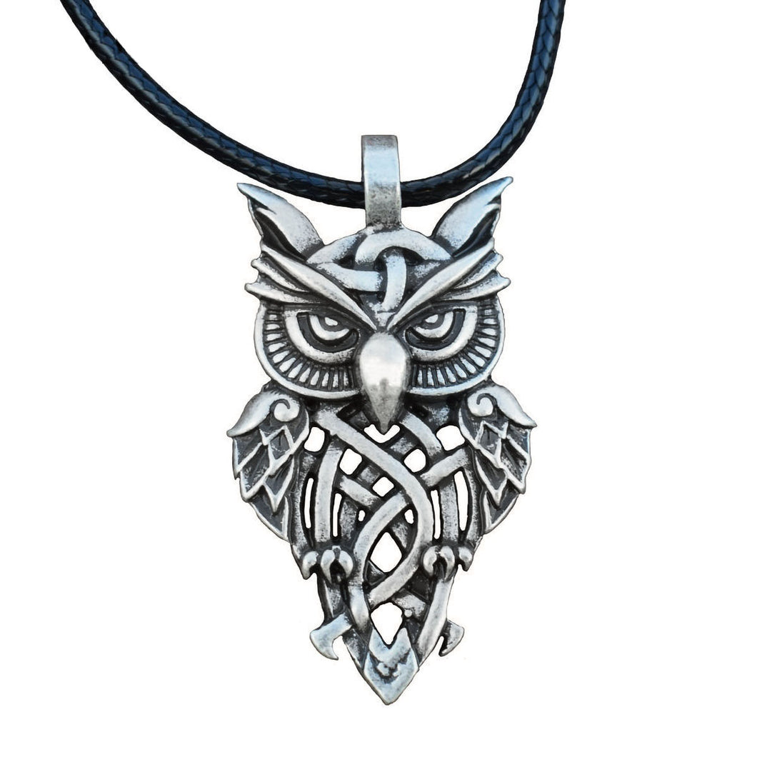GUNGNEER Vintage Celtic Trinity Knot Owl Stainless Steel Amulet Pendant Necklace Jewelry