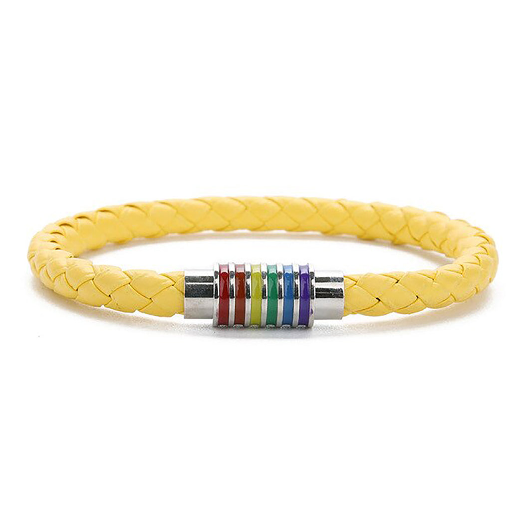 GUNGNEER Leather Rope Chain LGBT Pride Rainbow Bracelet Lesbian Jewelry For Men Women