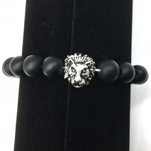 Load image into Gallery viewer, HoliStone Black Shungite Lion Head Bracelet ? Anxiety Stress Relief Yoga Beads Bracelets Chakra Healing Crystal Bracelet for Women and Men