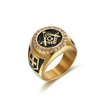 Load image into Gallery viewer, GUNGNEER Round Masonic Ring Multi-size Stainless Steel Free Mason Ring For Men
