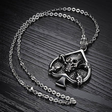 Load image into Gallery viewer, GUNGNEER Stainless Steel Lucky Skull Spade Poker Pendant Necklace Casino Jewelry Men Women