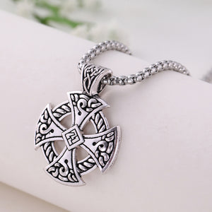 GUNGNEER Celtic Knot Cross Stainless Steel Amulet Pendant Necklace Infinity Bracelet Jewelry Set
