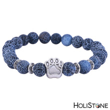 Load image into Gallery viewer, HoliStone Natural Chakra Stone with Silver Dog Paw Bracelet for Balancing Energy ? Anxiety Stress Relief Yoga Meditation Energy Balancing Lucky Charm Bracelet for Women and Men