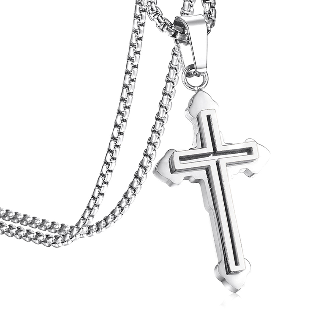 GUNGNEER Double Layer Christian Pendant Necklace Cross Jewelry Accessory Gift For Men Women