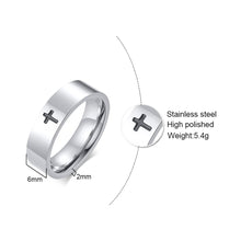 Load image into Gallery viewer, GUNGNEER Stainless Steel Christian Cross Ring God Jesus Jewelry Accessory Gift For Men