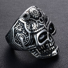 Load image into Gallery viewer, GUNGNEER Satan Skull Pendant Necklace Satanic Devil Skull Ring Jewelry Set Gift