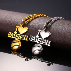 GUNGNEER I Love Baseball Necklace Stainless Steel Sport Jewelry Accessory For Men Women