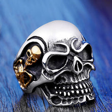 Load image into Gallery viewer, GUNGNEER Stainless Steel Silvertone Skull Ring Beaded Bracelet Skeleton Jewelry Set Men Women