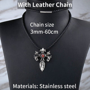 GUNGNEER Christian Cross Pendant Necklace Stainless Steel God Jewelry Outfit For Men Women