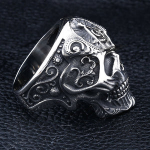 GUNGNEER Big Skull Masonic Ring Stainless Steel Unique Freemason Ring For Men