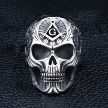 Load image into Gallery viewer, GUNGNEER Big Skull Masonic Ring Stainless Steel Unique Freemason Ring For Men