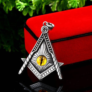 GUNGNEER The All Seeing Eye Masonic Pendant Necklace Leather Stainless Steel Accessories For Men