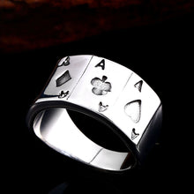 Load image into Gallery viewer, GUNGNEER Punk Rock Style Stainless Steel Men Ace of Spade Poker Ring Jewelry Accessories