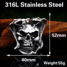 Load image into Gallery viewer, GUNGNEER Skull Skeleton Band Ring Stainless Steel Gothic Biker Necklace Jewelry Set Men Women