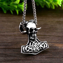 Load image into Gallery viewer, GUNGNEER 2 Pcs Thor Hammer Triquetra Valknut Necklace with Ring Stainless Steel Jewelry Set