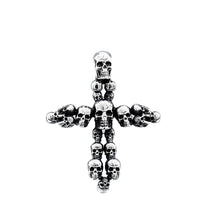 Load image into Gallery viewer, GUNGNEER Biker Punk Stainless Steel Cross Skeleton Skull Necklace Leather Bracelet Jewelry Set