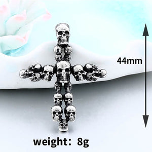 GUNGNEER Biker Punk Stainless Steel Cross Skeleton Skull Necklace Leather Bracelet Jewelry Set