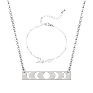 GUNGNEER Stainless Steel Wicca Moon Phase Pendant Necklace Love Curb Chain Bracelet Jewelry Set