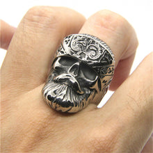 Load image into Gallery viewer, GUNGNEER Rock Punk Gothic Skull Necklace Ring Stainless Steel Skeleton Jewelry Set Men Women