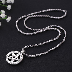 GUNGNEER Vintage Triple Moon Goddess Wicca Pentagram Necklace Leather Bracelet Jewelry Set