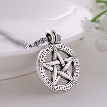 Load image into Gallery viewer, GUNGNEER Vintage Triple Moon Goddess Wicca Pentagram Necklace Leather Bracelet Jewelry Set