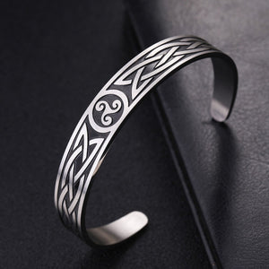GUNGNEER Vintage Celtic Triskele Charm Bracelet Bangle Stainless Steel Jewelry Men Women