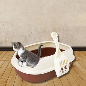 2TRIDENTS Tray Toilet for Cat Dog - Anti-Splash Pet Toilet Bedpan - Ideal for Pet Bathroom, Indoor Excretion (M, Blue)