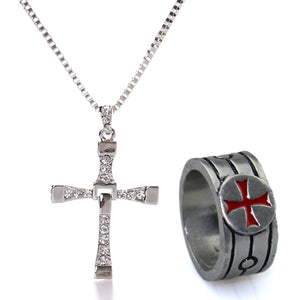 GUNGNEER Iron Cross Knights Templar Pendant Necklace with Ring Stainless Steel Jewelry Set