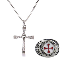 Load image into Gallery viewer, GUNGNEER Stainless Steel Knight Templar Red Cross Ring with Bracelet Jewelry Set Accessories