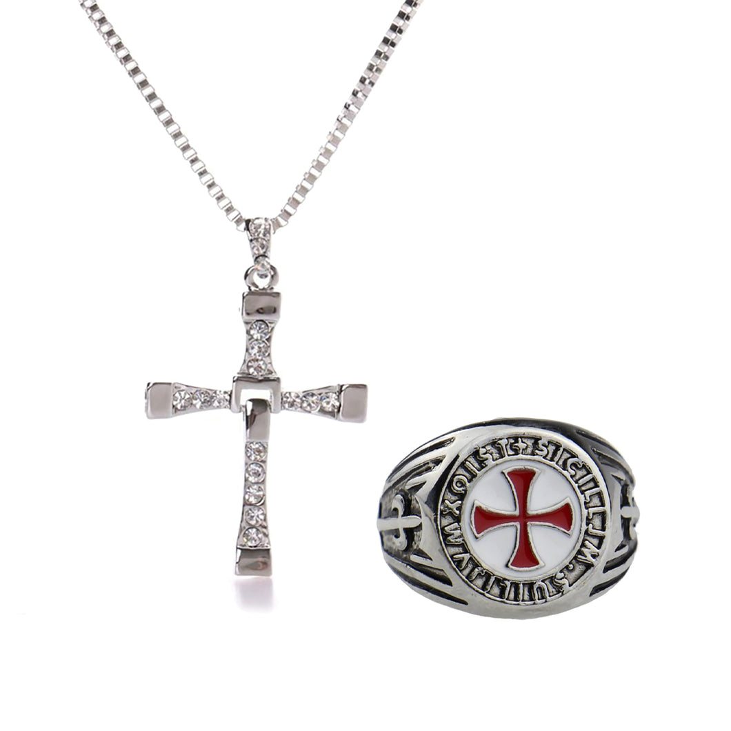 GUNGNEER Stainless Steel Knight Templar Red Cross Ring with Bracelet Jewelry Set Accessories