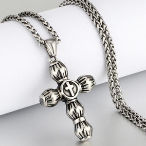 GUNGNEER Cross Necklace Stainless Steel Christ Pendant Chain Jewelry Gift For Men Women