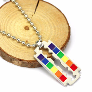 GUNGNEER Rainbow Pride Dog Tag Necklace LGBT Gay Lesbian Jewelry Accessory For Men Women