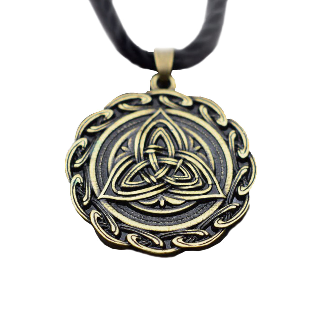 GUNGNEER Celtic Triquetra Trinity Knot Pendant Necklace Stainless Steel Jewelry for Men Women