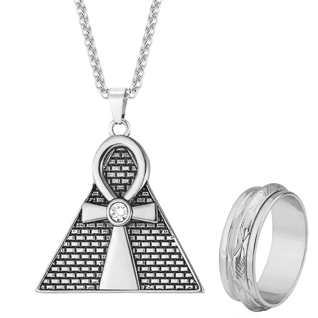 GUNGNEER Pyramid Ankh Egyptian Cross Pendant Necklace Spinner Ring Stainless Steel Jewelry Set